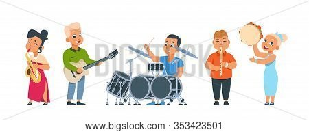 Cartoon Child Band. Cute Kid Orchestra With Happy Children Playing Musical Instruments On Party Or I