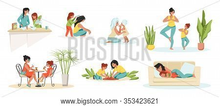 Mother And Daughter. Parent And Child Cartoon Characters, Mom And Kid Spending Time Together. Vector