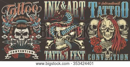 Tattoo Conventions Colorful Vintage Posters With Geisha Skull Devil Masks Dagger Snake Entwined With