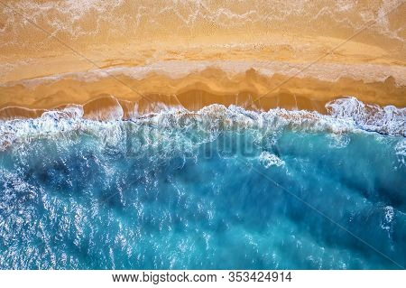 Beach And Waves From Top View. Golden Sands!
