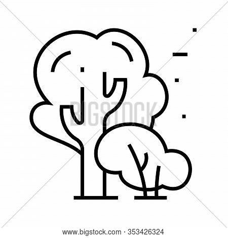 Park Trees Line Icon, Concept Sign, Outline Vector Illustration, Linear Symbol.