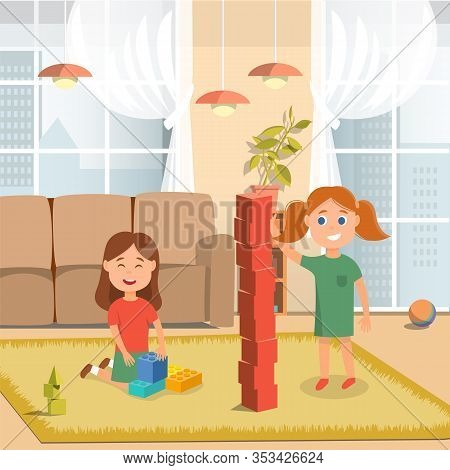Happy Sisters Playing Wooden And Plastic Building Bricks At Home Cartoon. Family Recreation. Smiling