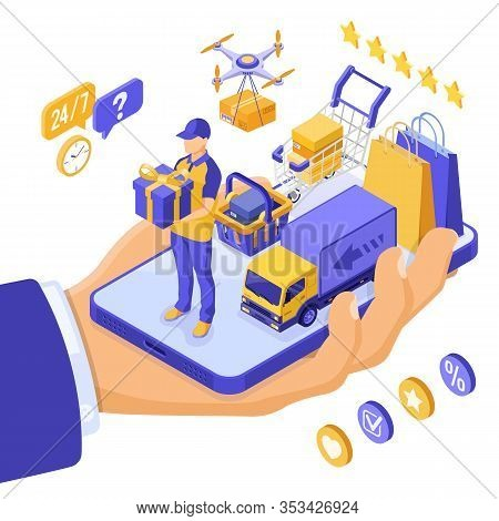 Isometric Online Shopping, Delivery, Logistics Concept. Hand Hold Smartphone With Delivery Goods, Dr