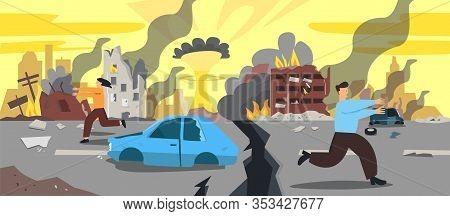 Doomsday City Apocalyptic Ruins Cartoon Vector Illustration