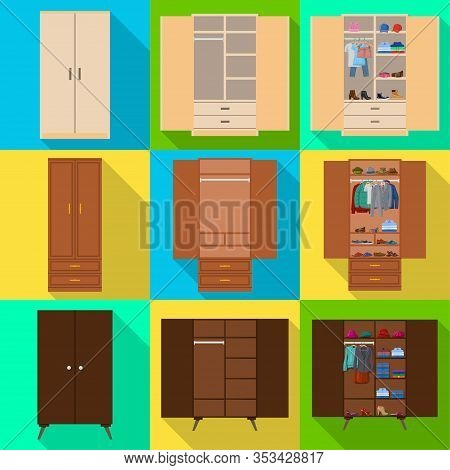 Wooden Cupboard Isolated Flat Icon. Vector Illustration Room Furniture Of Wardrobe On White Backgrou
