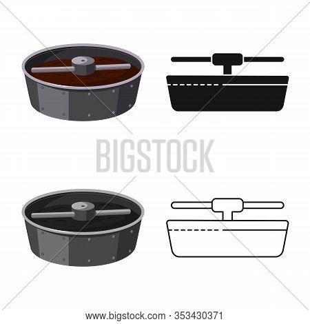 Vector Design Of Coffee And Roaster Icon. Collection Of Coffee And Machine Vector Icon For Stock.