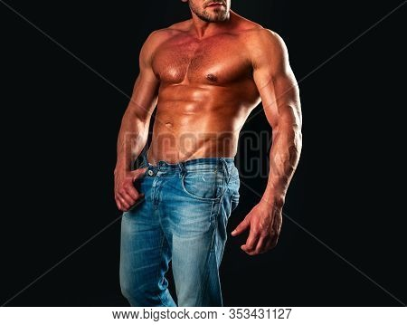 Sexy Torso. Male Flexing His Muscles. Athletic Man With Ab, Abs Or Six Pack. Chest Muscles. Male Tor