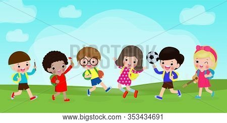 Group Of Children Back To School, Kids School, Education Concept, Kids Go To School, Template For Ad