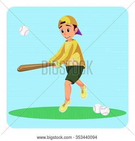 Cartoon Boy Hold Baseball Bat Hit Ball Vector Illustration. Happy Kid American Baseball Play. Teen S
