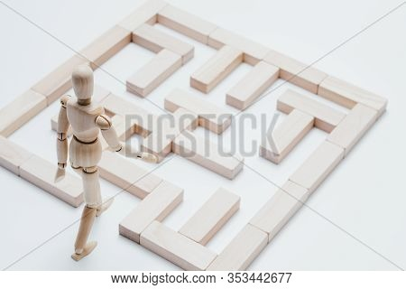 Business Strategy. Challenge Solution. Conceptual Labyrinth Articulated Mannequin Composition.