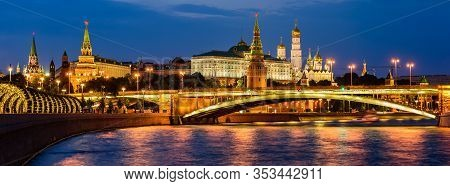 Moscow, Russia - June 9, 2019: Sightseeing Of Moscow. Wide Panoramic View Of Moscow Kremlin And Mosc