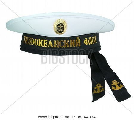 Isolated image of military cap on white background poster