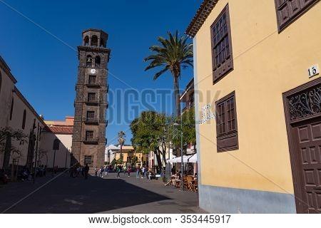 San Cristobal De La Laguna, Spain - January 16, 2020:  Belfry Of Iglesia La Concepcion In San Cristo