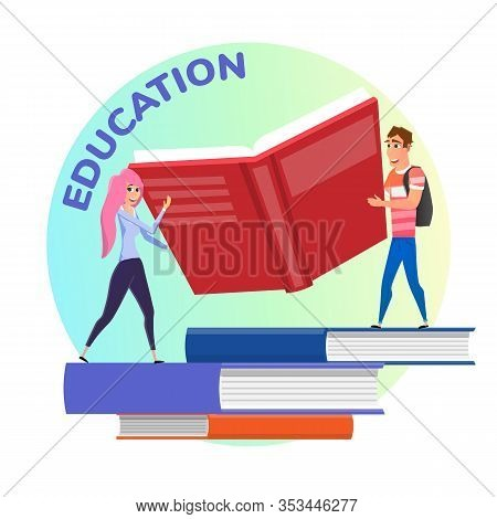 Flat Education Poster With Happy Students Holding Huge Book. Cartoon Smiling Female And Male Smart C