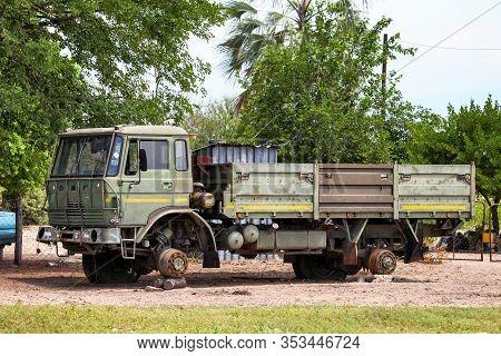 Ngamiland, Botswana - February 10, 2020: Broken 4x4 Flatbed Truck Daf 1800 At The Roadside.