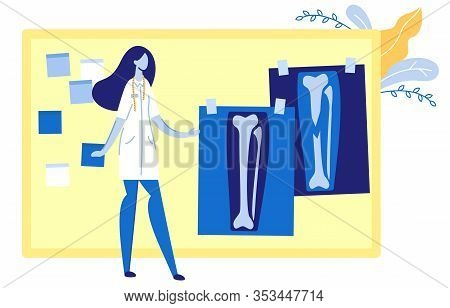 Woman In Uniform Looking At Xray Pictures Hanging On Board Flat Cartoon Vector Illustration. Recover