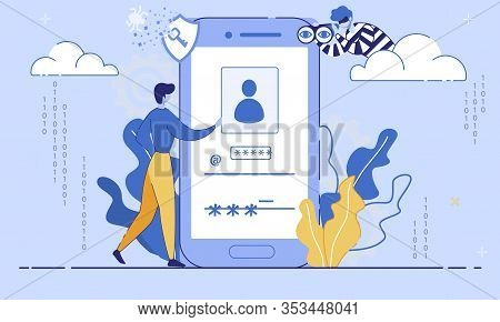 Internet User Security, Phishing Threats, Fraudulent Trendy Flat Vector Concept. Man Entering Userna
