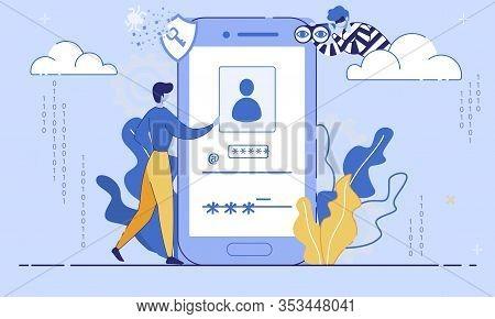 Internet User Security, Phishing Threats, Fraudulent Trendy Flat Vector Concept. Man Entering Userna