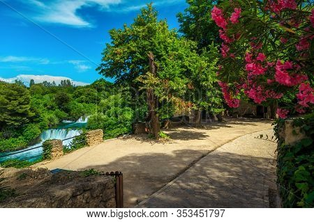 Picturesque View From The Promenade With Skradinski Buk Waterfalls In The Krka National Park, Dalmat
