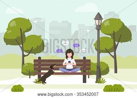 Young Woman Sitting In City Park And Sending Messages With Smartphone. Stock Vector. People And Mobi