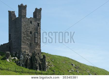 Old English Castle Ruin On A Hill