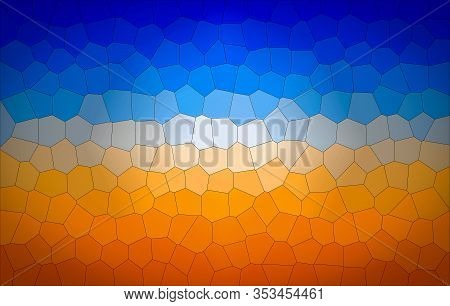 Abstract Irregular Geometric Shapes Background In Bright & Pleasant Blue & Orange Colors.