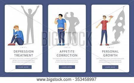 Psychological Help And Counseling Vector Mobile App Screens. Depression Treatment, Personal Growth,