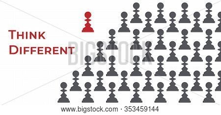 Silhouettes Of Grey Pawns And One Red Queen Apart Vector Illustration. Think Different, Be Not Like