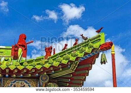 Roof Detail. Winter Palace Of The Bogd Khan In Ulan-bator, Mongolia. Bogd Khan Palace Of The Emperor