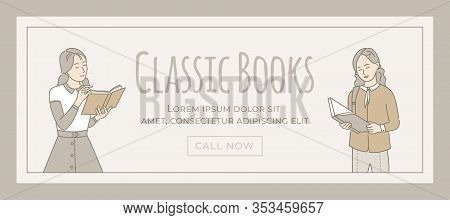 Classic Books Banner Vector Template With Text Space. Girls Reading Books And Enjoying Interesting N