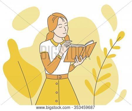 Girl Reading Orange Paper Book Vector Cartoon Illustration. Intelligent Woman Enjoying Interesting N