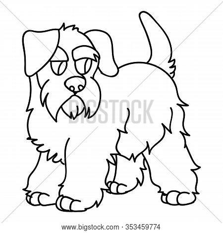 Cute Cartoon Monochrome Schnauzer Puppy Dog Breed Lineart Vector Clipart. Pedigree Kennel Doggie Bre