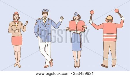 Airport And Airline Workers In Uniform Vector Cartoon Illustration. Aircrew, Flight Attendants Or St