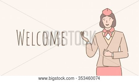 Welcome Aboard Vector Cartoon Banner Design With Text Space. Smiling Stewardess In Uniform Welcoming