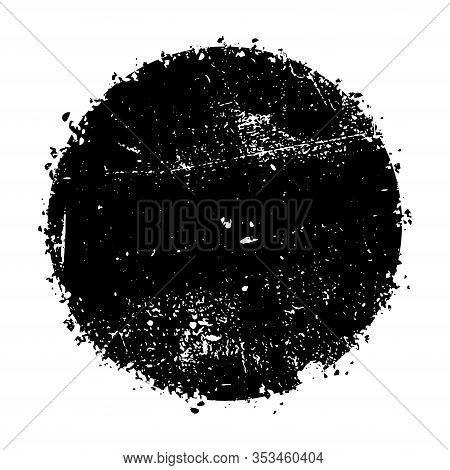 Distressed Circle Stamp Vintage Vector Black Color Overlay Texture. Circular Old Bold Grunge Distres