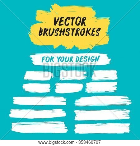 Vector Set Of Grungy Hand Drawn Paint Brush Strokes And Brushstroke Frame. Abstract  Artistic Elemen