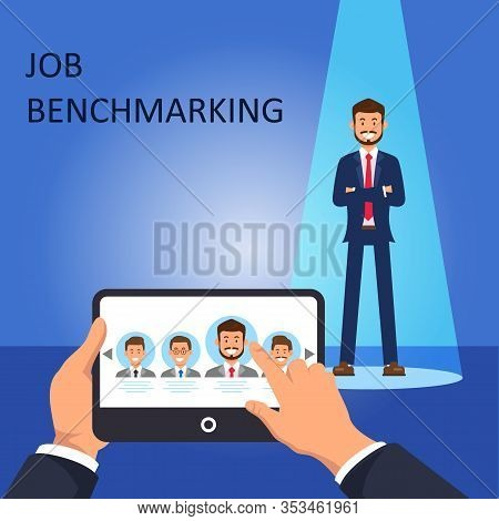 Job Benchmarking. Choose Employee. Open Vacancy. View Resume On Phone. Vector Illustration. Hr Manag