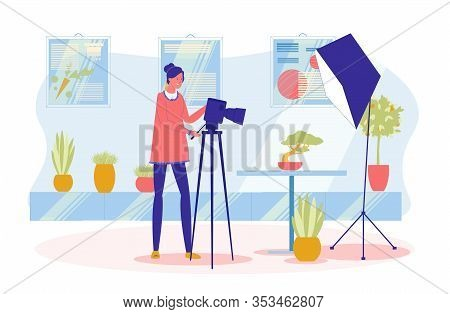 Professional Photographer Or Photo Artist, Woman Cartoon Character Shooting Plants For Advertising A