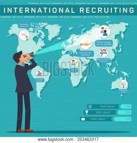 International Recruiting Vector Banner Template. Hr Expert, Headhunter, Recruiter Searching For Suit