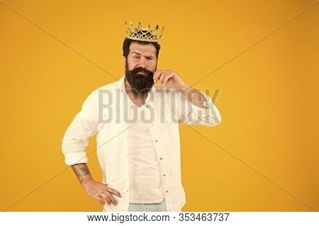 Superiority Complex. Narcissistic Person. Love Yourself. King Crown. Egoist Selfish Man. Bearded Man