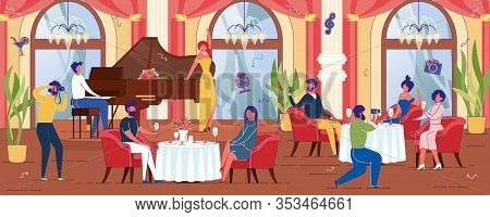 People, Men And Women Cartoon Characters Resting And Ordering Food In Luxury Restaurant Banqueting H
