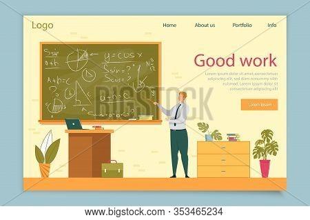 Teacher On Lesson Showing Methematics Formulas On Blackboard Flat Cartoon Vector Illustration. Tutor