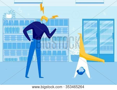Stressed Parent Looking At Son Standing Upside Down Flat Cartoon Vector Illustration. Spoiled Child
