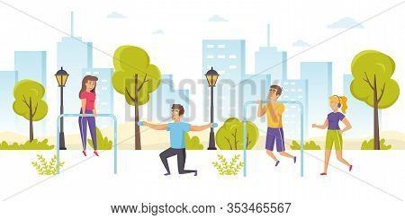Happy Men And Women Jogging Or Running, Performing Pull-ups, Exercising With Dumbbells In Park. Outd