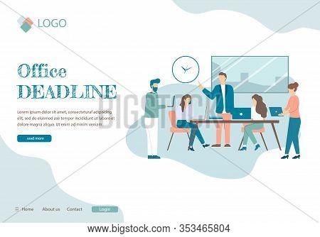 Office Deadline Banner. Cartoon People In Room, Alarm Pressure Stress Vector Illustration. Busy Busi