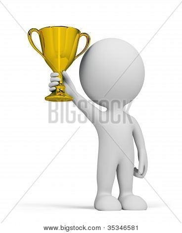 3D Person And Gold Cup