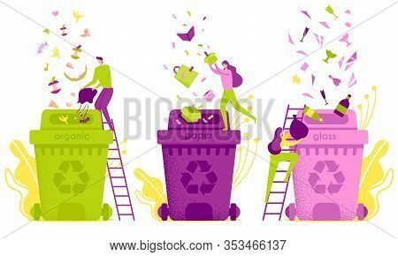 Flat Illustration Waste Sorting And Disposal. Distribution Waste In Garbage Containers. Man Pours Or