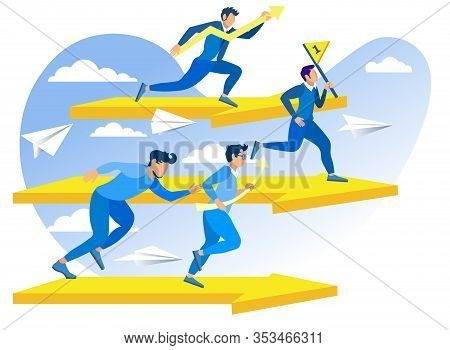 Survival And Performance Vector Illustration. Competitors Are Interested Bring Their Business To Fir