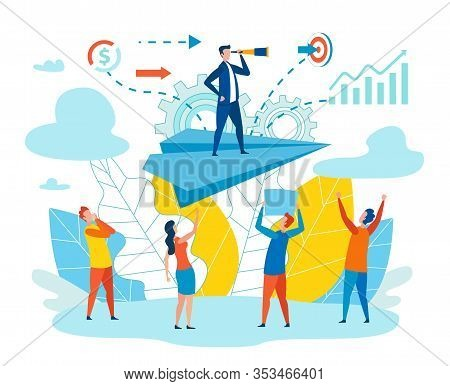Effective Leader Team Metaphor Vector Illustration. Men And Women Look Head Standing On Paper Airpla