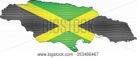 Shiny Grunge Map Of The Jamaica - Illustration,  Three Dimensional Map Of Jamaica
